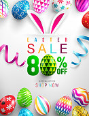 "Easter Sale ""80% off"" banner template with Colorful Painted Easter Eggs and ribbon.Easter eggs with different texture on white background.Vector"