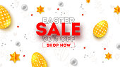 Easter sale. Ad poster with special holiday offer. Discount 50 percent off. Easter eggs, golden stars and pearls. Abstract pattern, top view. Vector illustration for festive discount actions