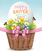 Easter Sale Background. Colofrul eggs in basket with green grass and flowers. Vector.