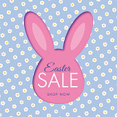 Easter sale background with bunny rabbit frame. Daisy pattern - Illustration