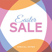 Easter sale background with eggs frame. - Illustration