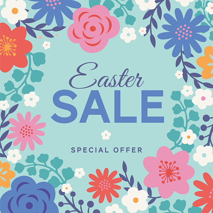 Easter sale background with flowers frame.