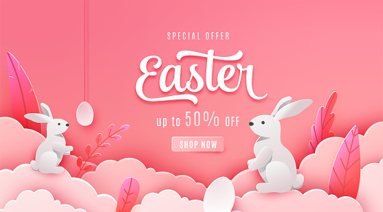 Easter sale banner background. Paper cut style holiday discount offer template with pink cloud, red leaves, white egg, bunny. Spring vector backdrop with typography promo text