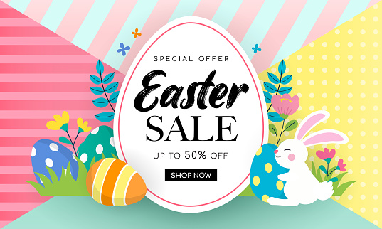 Easter Sale Banner Background Vector illustration. Rabbit and easter eggs in colorful spring flowers meadow