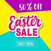 Easter Sale Banner Template Background. Vector Illustration