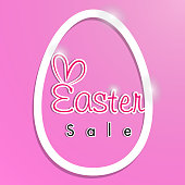 Easter Sale Banner Template Background with Beautiful Calligraphy. Paper Cut Egg, Vector Illustration