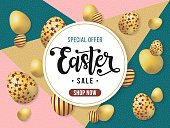 Easter sale banner. Vector illustration with hand sketched lettering typography, circle frame, golden Easter eggs, promo text on color block background with dot pattern. Design template