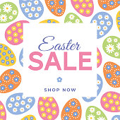 Easter Sale Design with colorful eggs frame. stock illustration