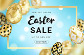 Easter sale banner concept decorated with realistic shine golden eggs, gold frame on blue gradient bokeh background. Vector illustration for greeting card, ad, promotion, poster, flyer, web-banner