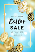 Easter sale design decorated with realistic shine golden eggs, gold frame on blue gradient bokeh background. Vector illustration use for greeting card, ad, promotion, poster, flyer, web-banner