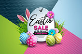 Easter Sale Illustration with Color Painted Egg, Spring Flower and Typography Element on Abstract Background. Vector Holiday Design Template for Coupon, Banner, Voucher or Promotional Poster