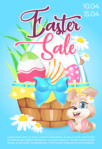 Easter sale poster flat vector template. Springtime seasonal discounts. Brochure, booklet one page concept design with kawaii cartoon characters. Pascha special offer promotional flyer, leaflet
