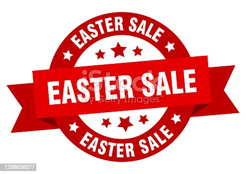 istock easter sale round ribbon isolated label. easter sale sign 1298636077