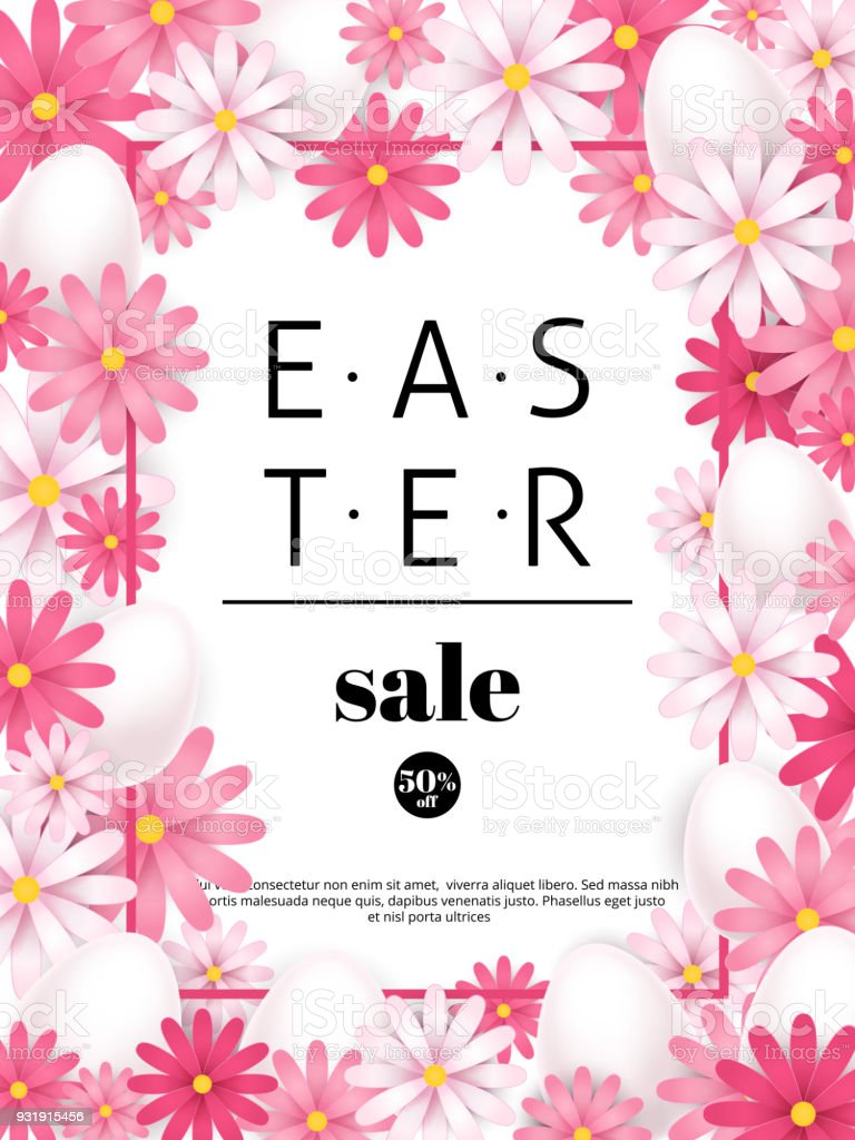 Easter Sale Season Offers And Discounts Background Pink Flowers And