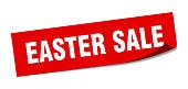 easter sale sticker. easter sale square sign. easter sale. peeler