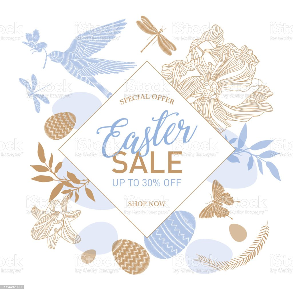 Easter Sale Templates With Eggs Flowers Rabbit Dove And Typographic ...