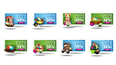 Easter sale, up to 50% off, large collection horizontal 3D discount banners in cartoon style with cartoon Easter icons. Set discount banners isolated on white background