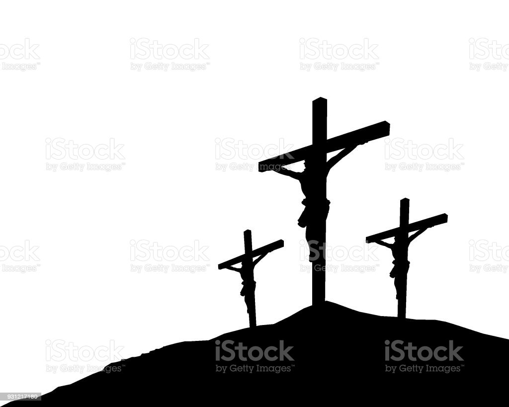 Easter scene with cross. Jesus Christ vector art illustration