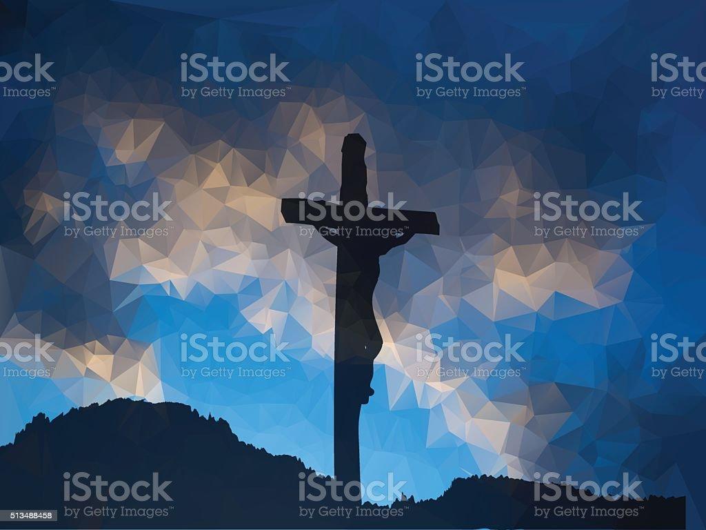 easter scene with cross jesus christ watercolor vector illustr