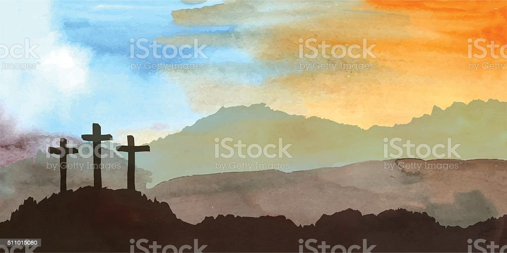 Easter scene with cross. Jesus Christ. Watercolor vector illustration vector art illustration