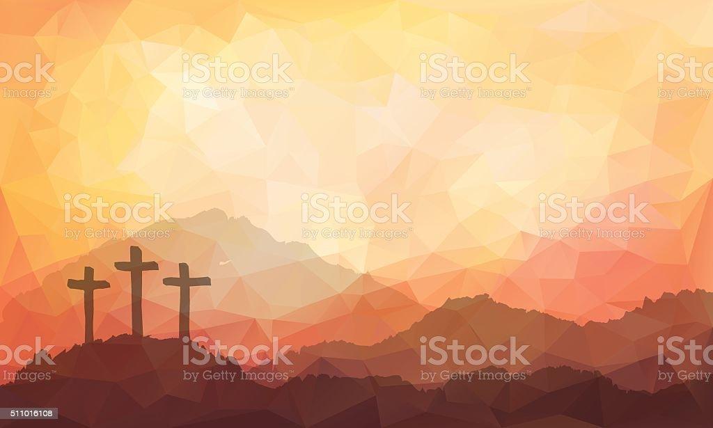 Easter scene with cross. Jesus Christ. Watercolor vector illustration royalty-free easter scene with cross jesus christ watercolor vector illustration stock vector art & more images of art