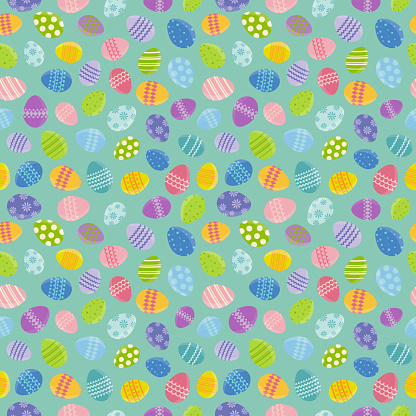 Easter seamless pattern background with eggs. Vector
