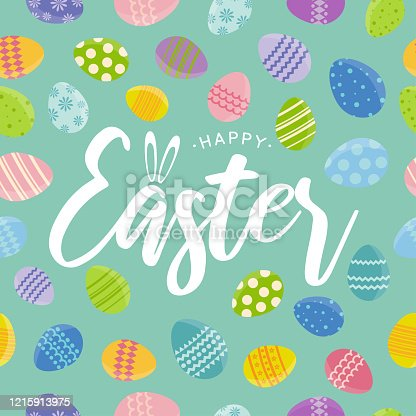 Easter seamless pattern card. Background color can be changed. All elements can be edited. Clipping mask is used. Vector illustration. EPS10
