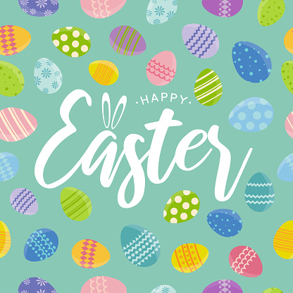 Easter seamless pattern card. Vector