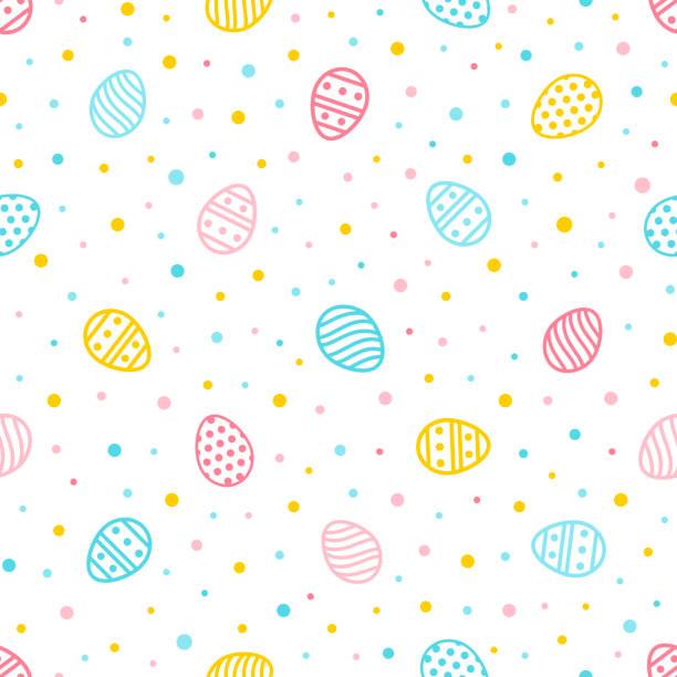 부활절 완벽 한 패턴입니다. 화려한 계란과 점으로 다채로운 배경입니다. 벽지, 웹 페이지, 포장지 등을 위한 끝 없는 텍스처 레트로 스타일입니다. - 부활절 달걀 stock illustrations