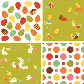 Easter seamless pattern set.Patterns defined in swatches palette. Global colors used - easy to change color.