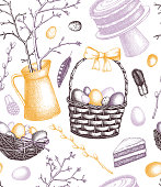 Happy Easter Day seamless pattern. Vector greeting card or invitation template. Shabby chic style.  Hand drawn holiday decor elements. Vintage spring background. Engraved illustration.