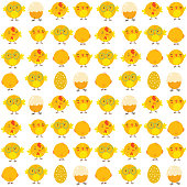 Easter seamless pattern with chicken. Perfect for wallpapers, pattern fills, web page backgrounds, surface textures, textile.
