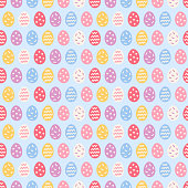 Easter seamless pattern with colorful eggs