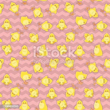 istock Easter seamless pattern with cute chicks on a zig zag background. Vector illustration. 1208458355