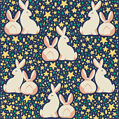 Easter seamless pattern with decorated eggs and egg hunt bunny smiling characters silhouettes. For holiday cards, packaging paper, banner, etc. Vector illustration.