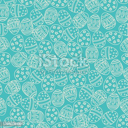 istock Easter seamless pattern with Easter eggs as lace on a blue background. Vector flat design illustration in doodle style for  prints, wrapping paper, etc. For Happy Easter. 1298028499