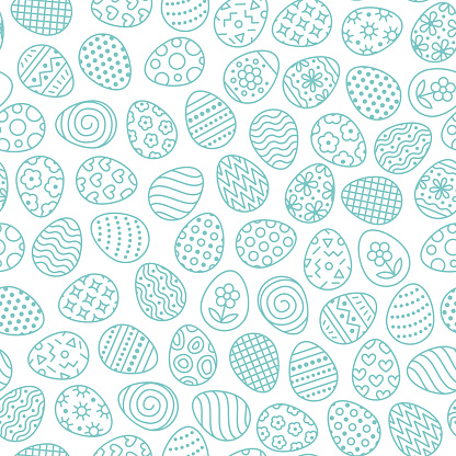 Easter seamless pattern with flat line icons of painted eggs. Egg hunt vector illustrations, christianity traditional celebration wallpaper. Blue, white color