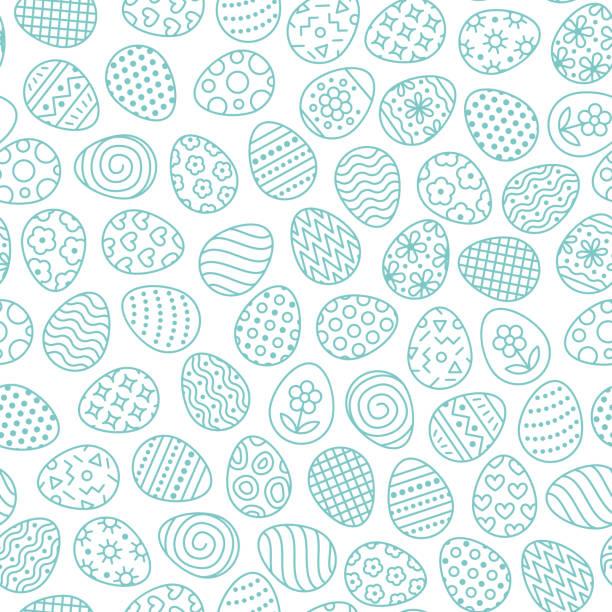 플랫 라인 아이콘 페인트 달걀의 부활절 완벽 한 패턴입니다. 계란 사냥 벡터 일러스트, 기독교 전통 축제 벽지. 블루, 화이트 색상 - 부활절 달걀 stock illustrations