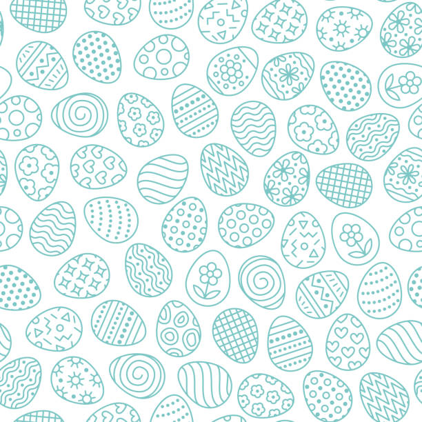 illustrazioni stock, clip art, cartoni animati e icone di tendenza di easter seamless pattern with flat line icons of painted eggs. egg hunt vector illustrations, christianity traditional celebration wallpaper. blue, white color - easter
