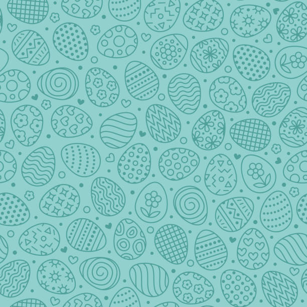 Easter seamless pattern with flat line icons of painted eggs. Egg hunt vector illustrations, christianity traditional celebration wallpaper. Blue color Easter seamless pattern with flat line icons of painted eggs. Egg hunt vector illustrations, christianity traditional celebration wallpaper. Blue color. easter stock illustrations