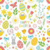 Easter seamless pattern with flower, branch, holiday eggs, basket, bow, garland, bunny, chicken. Perfect for wallpaper, gift paper, pattern fills, web page background, spring and Easter greeting cards