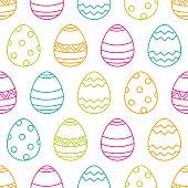 Easter seamless pattern with linear multicolor eggs. Holiday simple background. Vector illustration.