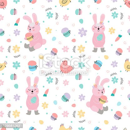 istock Easter seamless pattern with pink rabbits, cakes, eggs, chicken. Easter bunnies decorate Easter cakes and steal eggs.hand drawn vector illustration. Easter background 1295812631