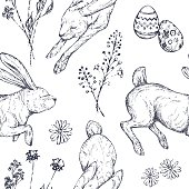 Easter seamless patterns with rabbits, ornamented eggs, wild flowers.