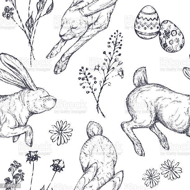 Easter seamless patterns with rabbits ornamented eggs wild flowers vector id519656772?b=1&k=6&m=519656772&s=612x612&h=cyfwezrc10vx5geatfwbacctzeyh1jo819ue5st9 bw=