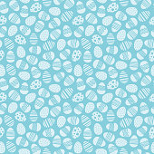 Cute colorful easter seamless vector pattern background illustration with eggs.  Stock illustration