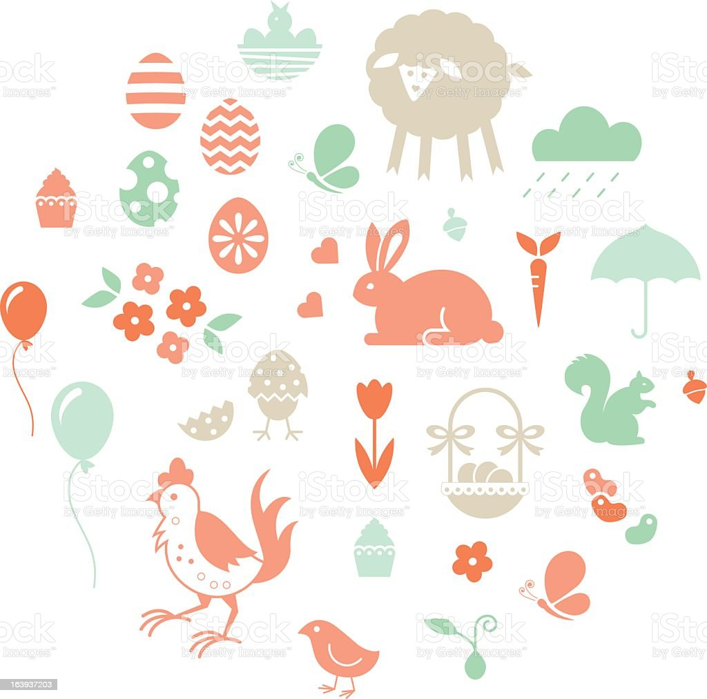 Easter set of icons in pastel tones vector art illustration