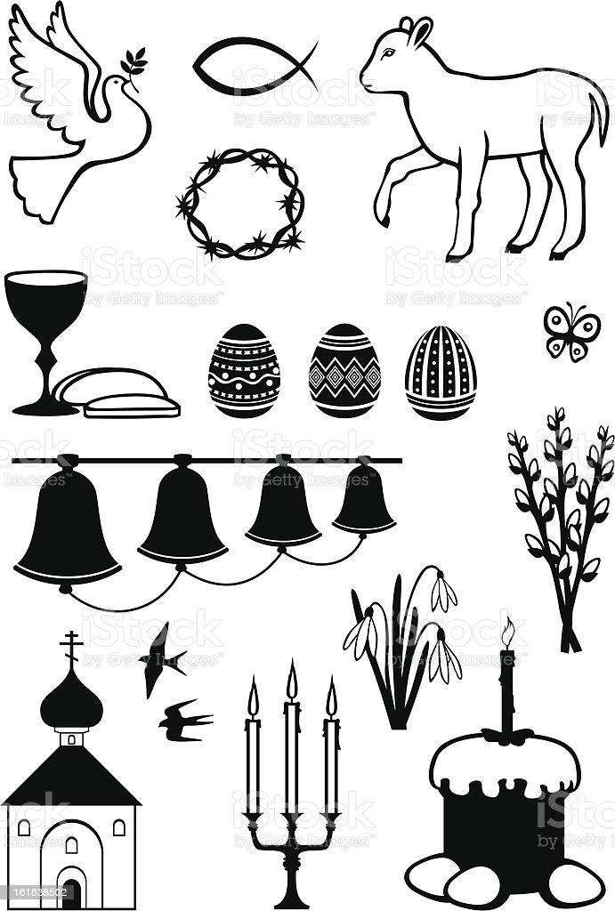 Easter set of images royalty-free stock vector art