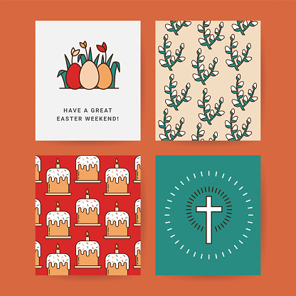 Easter Set of Postcards, Gift Tags, Layouts Drawn in a Linear style with a Stroke. Pattern of Willow Branches, Colored Eggs with Grass and Tulip, Christian Cross with Easter Eggs and pattern of Cakes