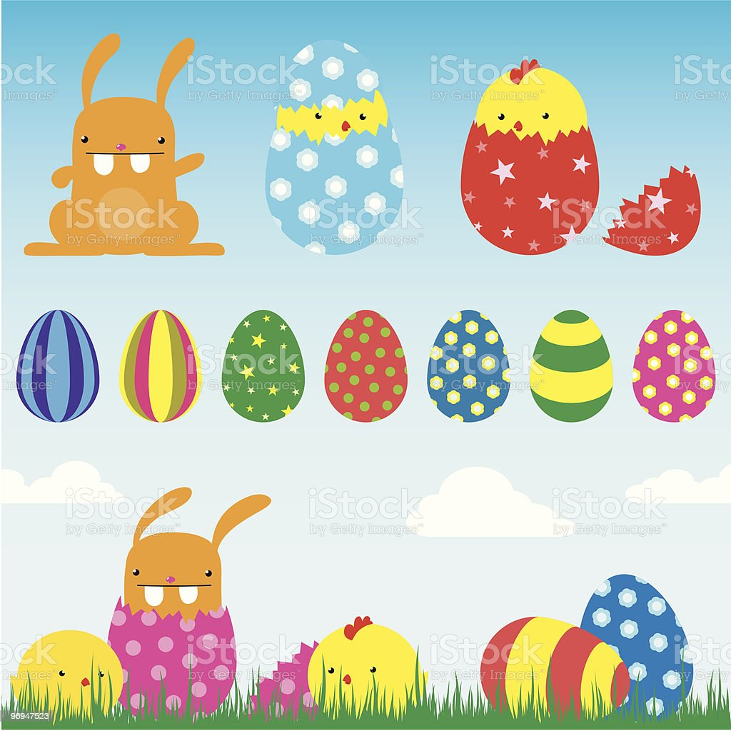 easter set (bunny, chick, egg) - vector royalty-free easter set vector stock vector art & more images of animal